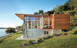 maison bois moderne avec jardin à la campagne