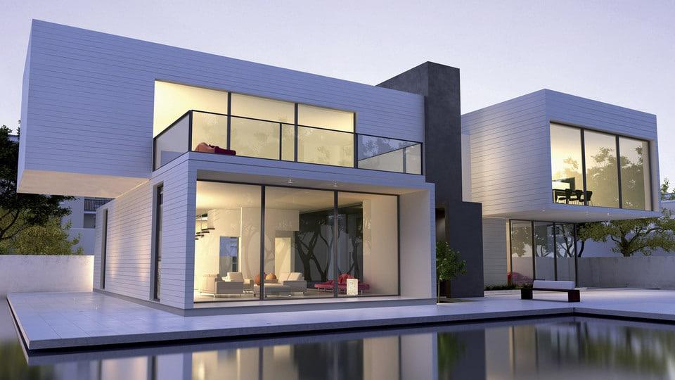 maison bois moderne avec piscine