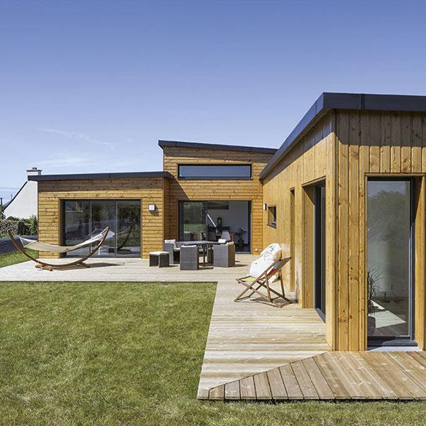 maison cubique en ossature bois au Bretagne