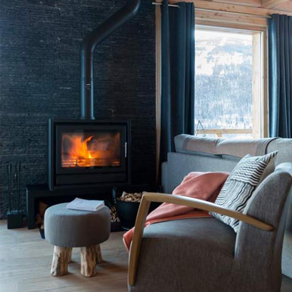 séjour confortable avec cheminée