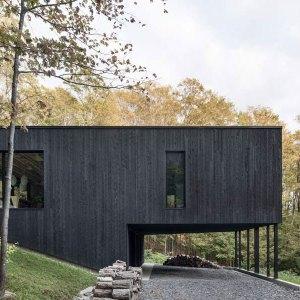 maison bois dans la fôret canadien
