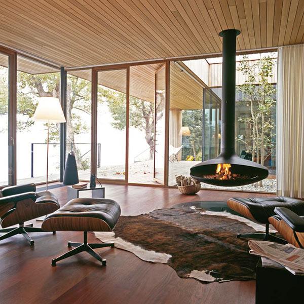 séjour avec chauffage et parquet dans incroyable maison bois