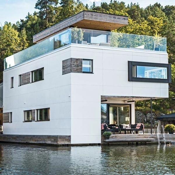 villa en bois flottante en Suède