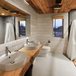 salle de bains moderne dans maison bois aux États-Unis
