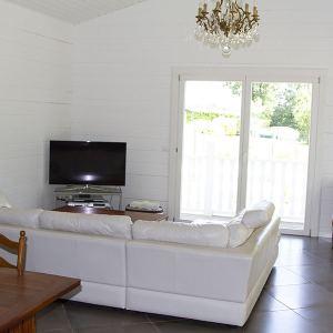 sSalle de séjour en bois avec canapé, dalles et TV