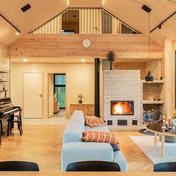 design d'intérieur d'un salon dans maison bois