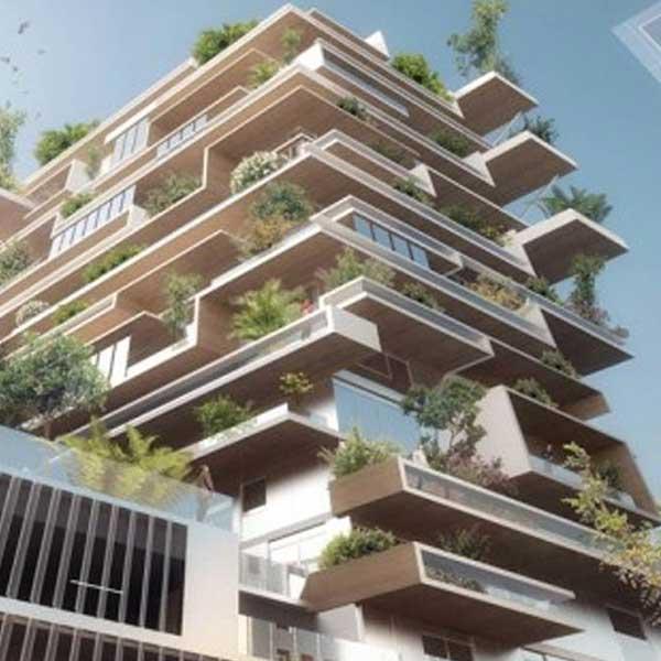 Vue 3D de la tour bois Hypérion à Bordeaux © Jean-Paul Viguier Architecte/Eiffage/EPA Bordeaux Euratlantique