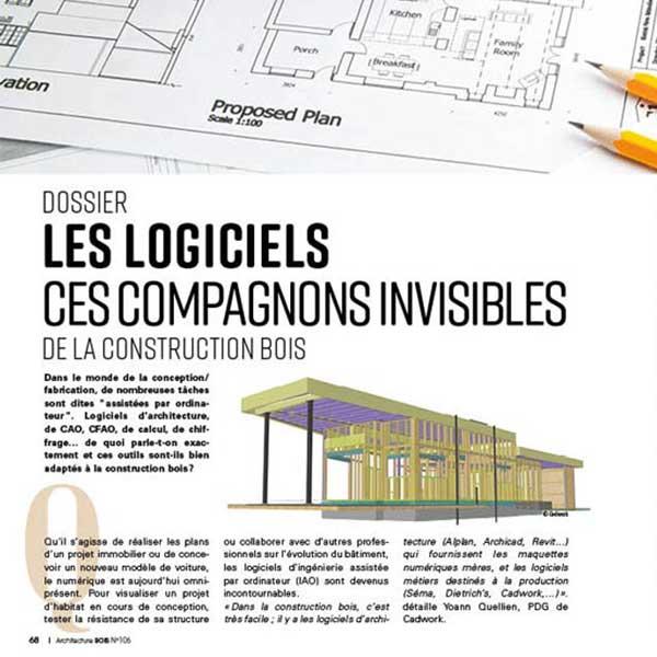 Le dossier Les logiciels de la construction bois, à lire sur le N°106 du magazine Architecture Bois
