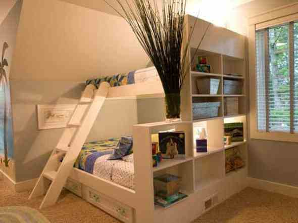 wooden bunk beds with unique space saving