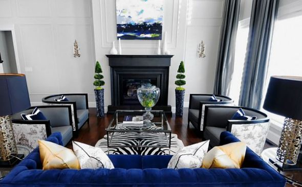 black and white living room with blue and brown combination