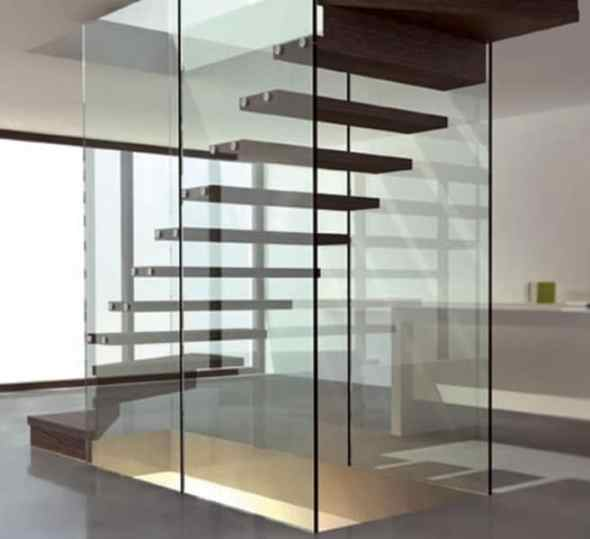 glass and wooden floating staircase