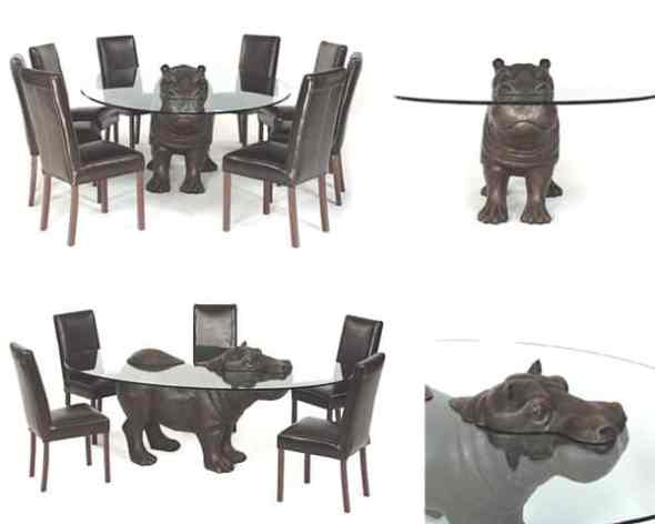 hippo bronze dining table