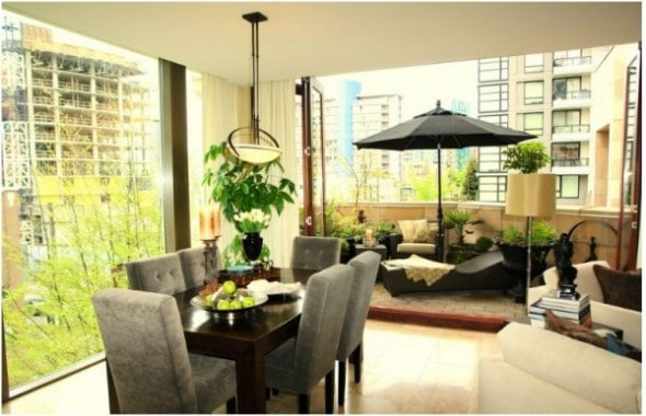 large dining room with outdoor spaces