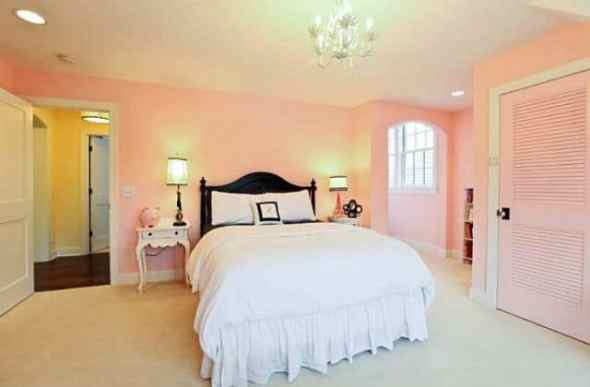 pink soft bedroom with contemporary furniture