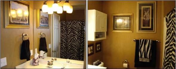 safari style bathroom with zebra motif