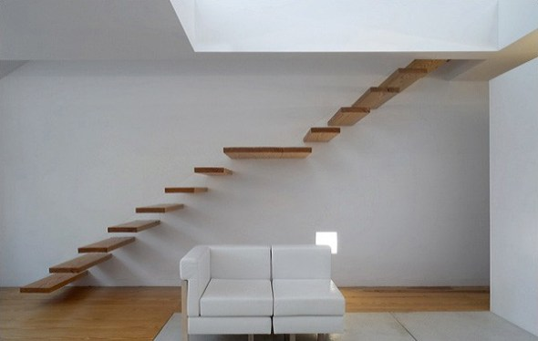 simple and wooden by floating staircase from Alvaro Leite Siza