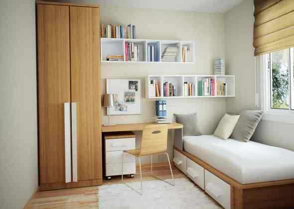 small bedroom with futuristic touch