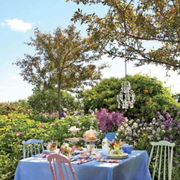 tea party among the flowers