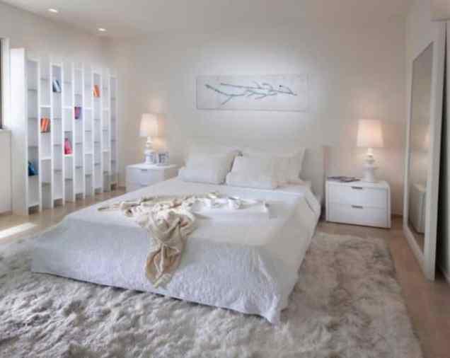 White Bedroom with Modern Carpet