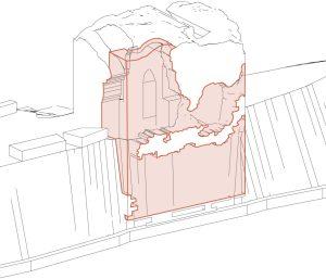 Focuspunt te restaureren toren: zuidoost façade