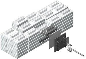 Detail van de flexibele mechanische zijdelingse verankering in geval van aardbevingen.