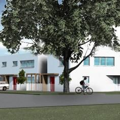 Reihenhausanlage Groß-Enzersdorf - Ansicht Straße - Rendering