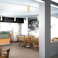 Architekt Gutmann - Konzept - Cafe de France - Einblick - 3D - Wandgemälde Picasso