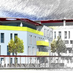 Wohnhausanlage Tulln - Bauteil 1 Hoffassade Rendering
