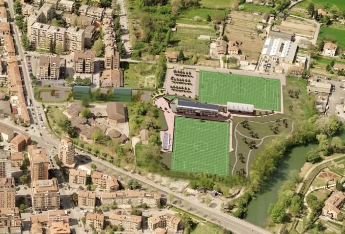 Inserimento ambientale del centro sportivo.