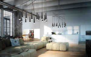 Interior of modern apartment living room kitchen. 3d rendering