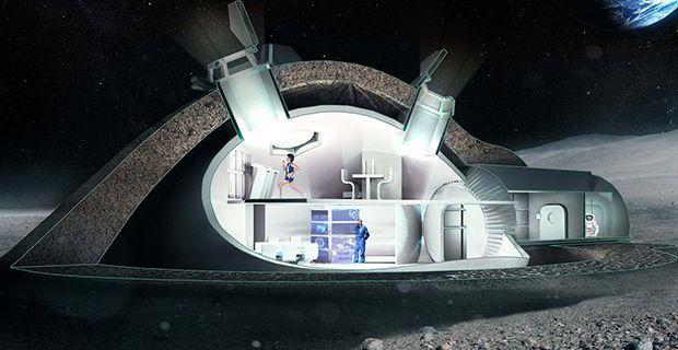 L'interno della cupola del villaggio Lunar Habitation