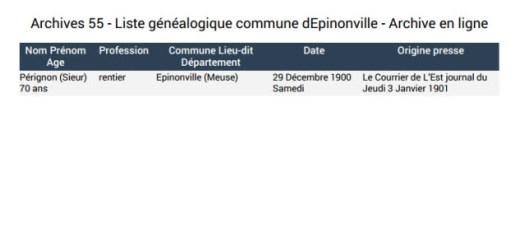 liste généalogique Epinonville