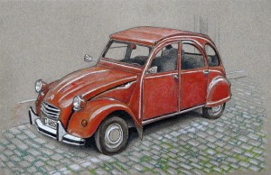 Car on Toned Gray - colored pencil