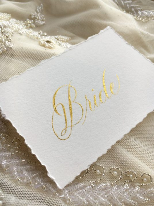 Lyons wedding placecard bride