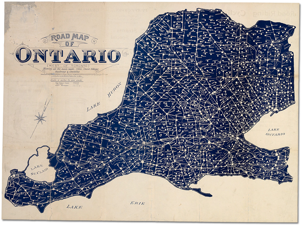 Road map of Ontario  west of Toronto  showing all main roads  1898