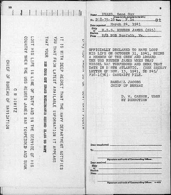 Telegram informing his family of the death of Gene Guy Evans, of Norfolk, Virginia, lost in the torpedoing of the U.S.S. Reuben James
