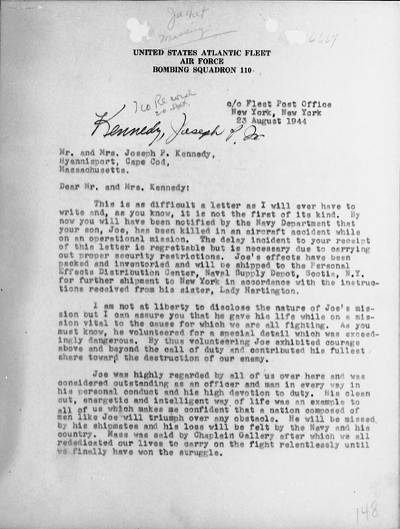 Page 1 of August 23, 1944 condolence letter to the parents of Lt. Joseph Kennedy, Jr.,