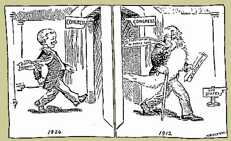 Cartoon portraying the time needed to pass the 17th Amendment allowing the direct election of U.S. senators By Spencer, for the Omaha World Herald, 1912 Reproduced from Robert C. Byrd, The Senate, 1789­1989