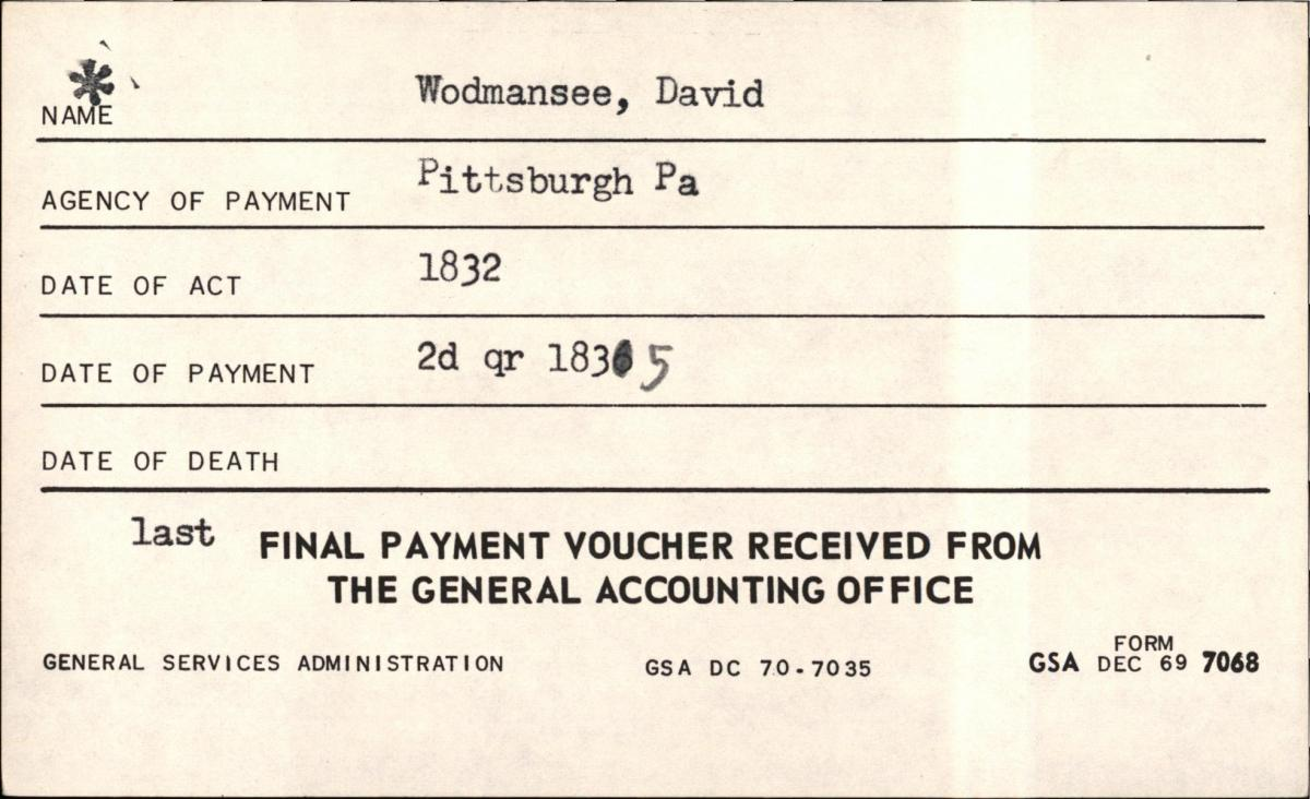 Index to Final Pension Payment Vouchers, 1818 - 1864