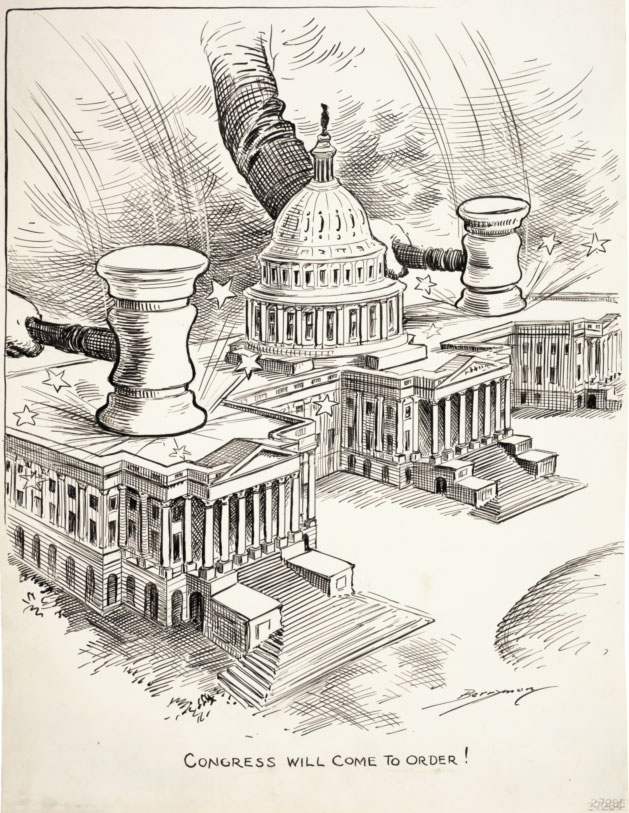 "Clifford Berryman cartoon from 1912, ""Congress will come to order!""  National Archives"