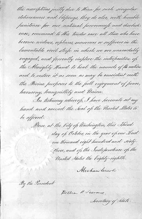 Last Page of President Abraham Lincoln's Thanksgiving Proclamation
