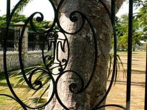 Thompson Family Crest in Wrought Iron Fence