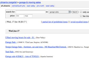 Phoenix Craigslist™ Garage Sale Listings