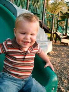 Little Boy on Slide