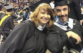 Corinne Bermon and Paul Bachand at UMass Boston commencement, 2015.