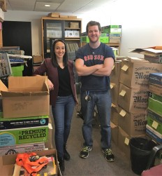 Connor Anderson (right) with fellow grad student, Ashlie Duarte-Smith, in the staging area of the MacDougall Collection of Popular Culture Materials.