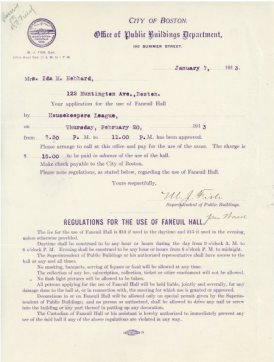 Application from the Housekeeper's League, January 1913. Courtesy of Boston City Archives.