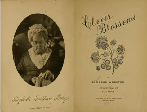 Pages of Clover Blossoms by Elizabeth Hedge Webster, who lived in Hyde Park. The collection of poems and prose discusses suffrage and women's rights at length.
