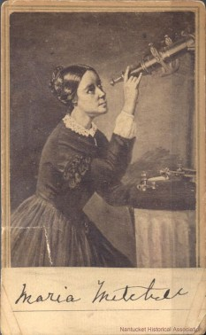 Photo of Painting by Mrs. H. Dassel c. 1851 Maria Mitchell Looking Through a Telescope Courtesy of the Nantucket Historical Association