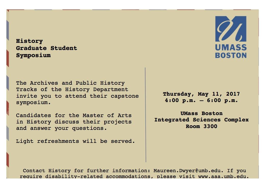 History Graduate Student Symposium |  Spring 2017